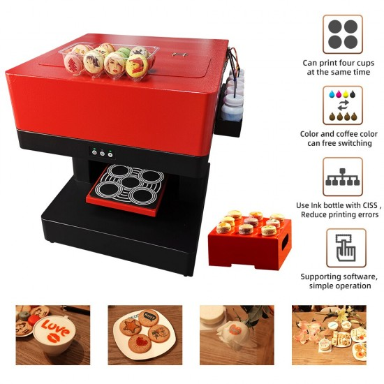 4 Cups Coffee Printer Selfie Photo Printer for Cappuccino Biscuits Cake