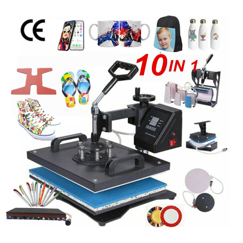 10-in-1-Combo-Heat-Press-Machine-Sublimation-Heat-Transfer-Machine-For-T-ShirtPlateMugShoePenCapPhone-CaseBottle-33063450319
